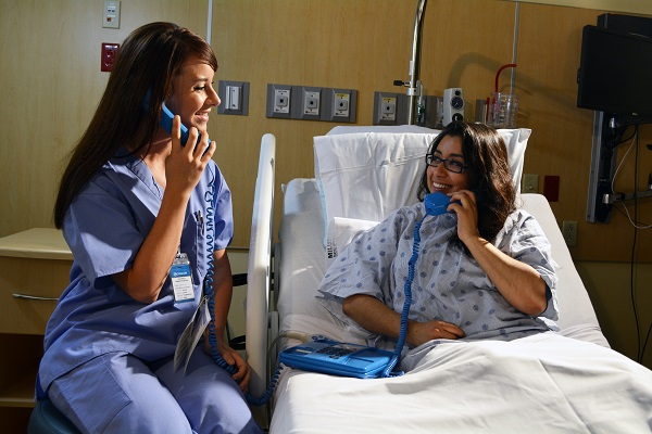Female Patient Interpreter Blue Phone